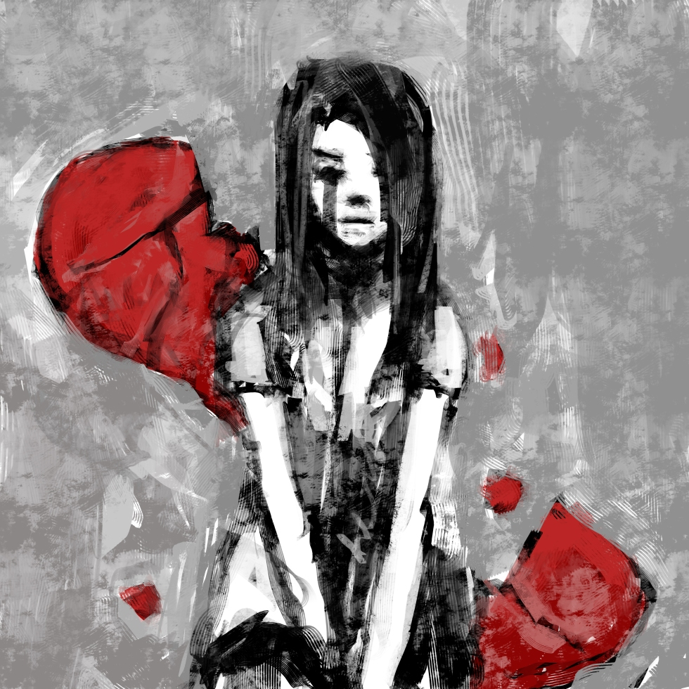 Broken heart girl crying drawing easy